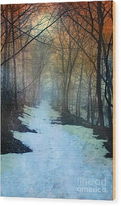 Path Through The Woods In Winter At Sunset Wood Print