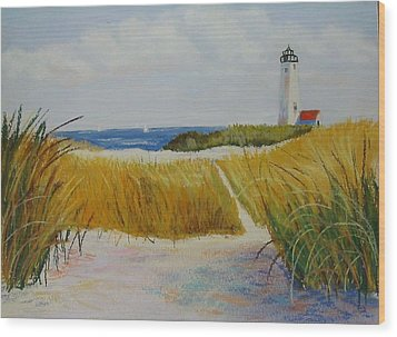 Path To Lighthouse Wood Print