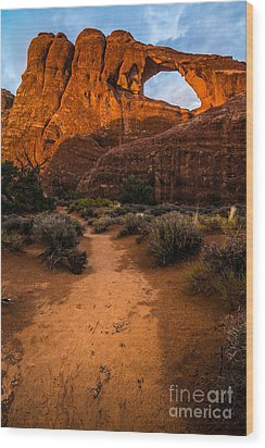 Wood Print featuring the photograph Path To Skyline Arch At Sunset - Utah  by Gary Whitton