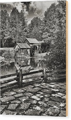 Wood Print featuring the photograph Pathway To Marby Mill In Black And White by Paul Ward