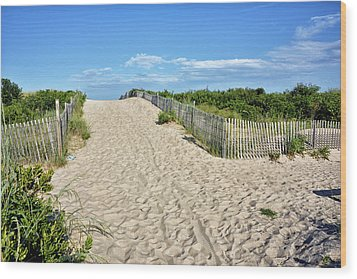 Wood Print featuring the photograph Pathway To The Beach - Delaware by Brendan Reals