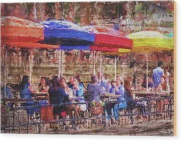 Patio At The Riverwalk Wood Print