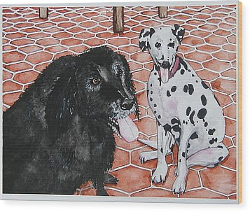 Patio Dogs Wood Print by Laura Brightwood