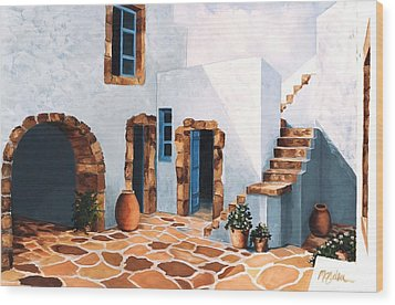 Patio In Patmos, Greece-prints From Original Oil Painting Wood Print