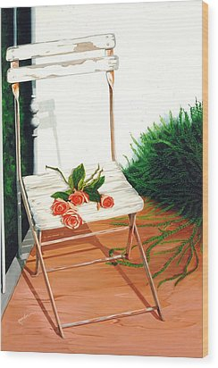 Patio Rose, Prints From Original Oil Paintings Wood Print