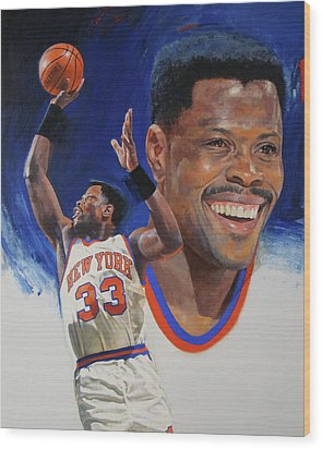 Wood Print featuring the painting Patrick Ewing by Cliff Spohn