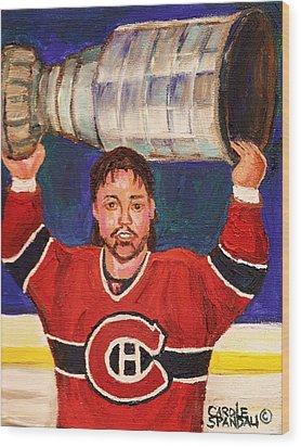 Patrick Roy Wins The Stanley Cup Wood Print by Carole Spandau