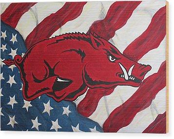 Patriot Hog Wood Print by Nathan Grisham