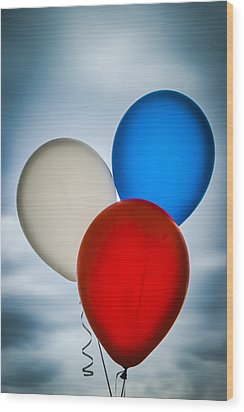 Patriotic Balloons Wood Print by Carolyn Marshall