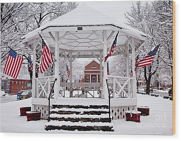 Patriotic Bandstand Wood Print by Susan Cole Kelly