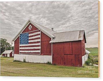 Patriotic Barn Wood Print by Trey Foerster