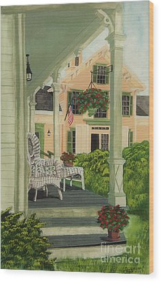 Patriotic Country Porch Wood Print by Charlotte Blanchard
