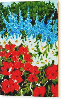 Wood Print featuring the painting Patriotic Garden by Diane Ursin
