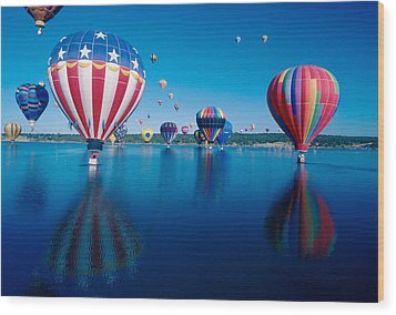 Patriotic Hot Air Balloon Wood Print by Jerry McElroy