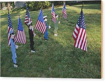 Patriotic Lawn Ornaments Represent Wood Print by Stephen St. John