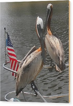 Patriotic Pelicans II Wood Print