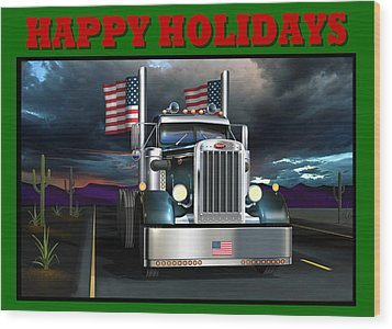Wood Print featuring the digital art Patriotic Pete Happy Holidays by Stuart Swartz