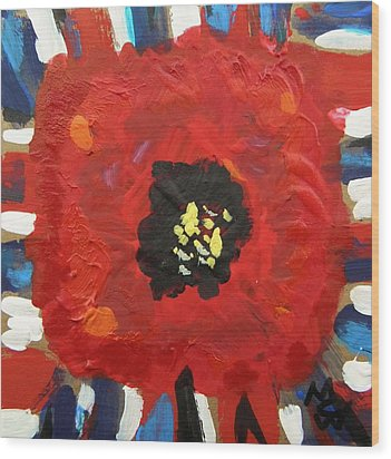 Patriotic Poppy Wood Print by Mary Carol Williams