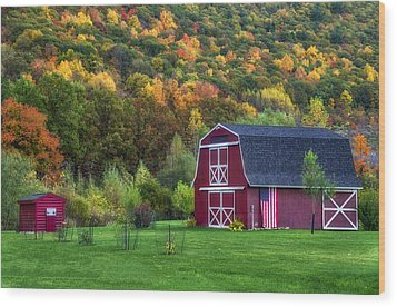 Patriotic Red Barn Wood Print