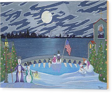 Patriotic Snowmen Wood Print by Thomas Griffin