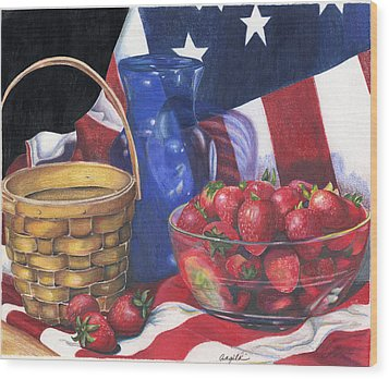 Wood Print featuring the painting Patriotic Strawberries by Angela Armano