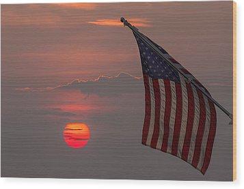 Patriotic Sunset Wood Print by Mark Papke
