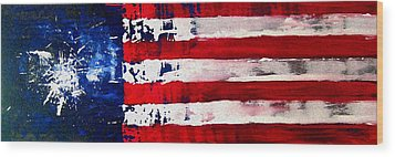Patriot's Theme Wood Print by Charles Jos Biviano