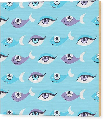 Pattern Of Blue Eyes And Fish In Sea Wood Print