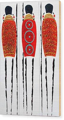 Patterned Masai Triptych Wood Print