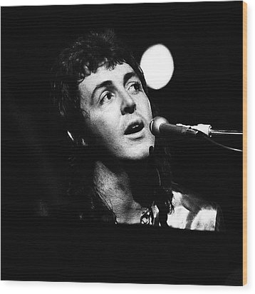 Wood Print featuring the photograph Paul Mccartney 1973 Square by Chris Walter