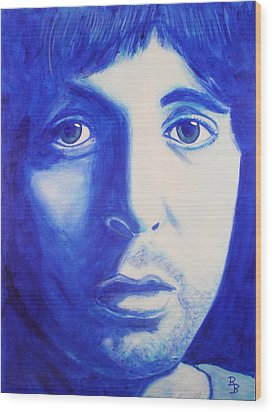 Wood Print featuring the painting Paul Mccartney Beatles White Album by Bob Baker