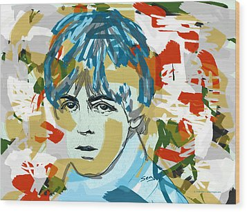 Paul Mccartney Wood Print by Suzanne Gee