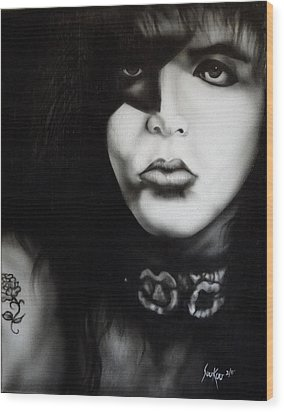 Paul Stanley From Kiss Wood Print by Stephen Sookoo