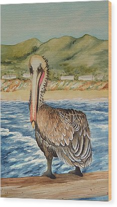 Wood Print featuring the painting Paula's Pelican by Katherine Young-Beck
