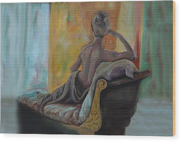 Wood Print featuring the painting Pauline by Nancy Bradley