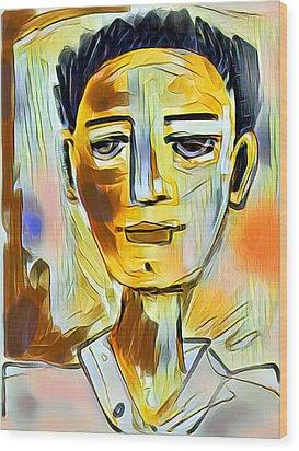 Wood Print featuring the digital art Pauls Portrait by Elaine Lanoue