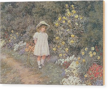 Pause For Reflection Wood Print by Helen Allingham