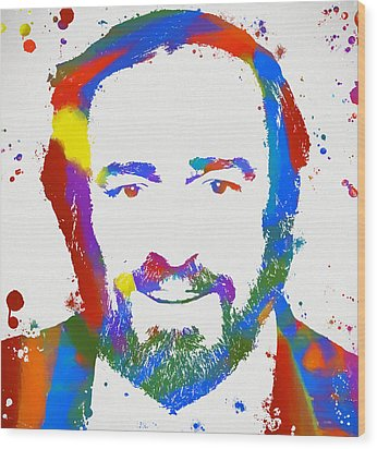 Pavarotti Colorful Paint Splatter Wood Print by Dan Sproul