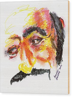 Wood Print featuring the drawing Pavarotti Sketch No. 1 by Andrew Gillette