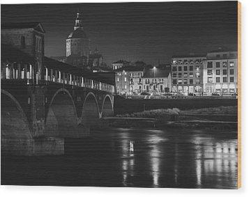Pavia At Night Wood Print