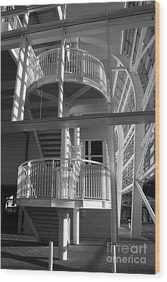 Pavilion Stairs At The Ageas Rose Bowl Wood Print by Terri Waters
