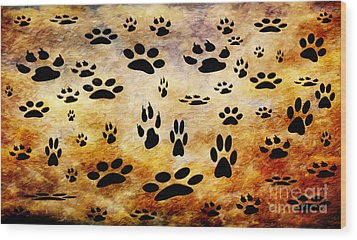 Wood Print featuring the digital art Paw Prints by Andee Design