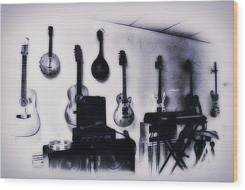 Pawn Shop Guitars Wood Print by Bill Cannon
