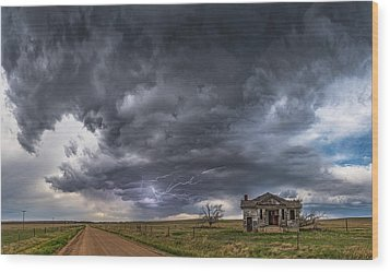 Wood Print featuring the photograph Pawnee School Storm by Darren White