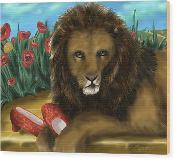 Wood Print featuring the digital art Paws Off My Ruby Slippers by Meagan  Visser