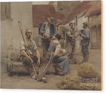 Paying The Harvesters Wood Print by Leon Augustin Lhermitte