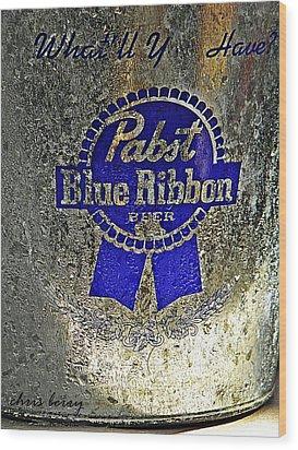 Pbr  Bucket O Beer  Wood Print by Chris Berry