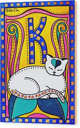 Peace And Love - Cat Art By Dora Hathazi Mendes Wood Print by Dora Hathazi Mendes