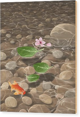 Wood Print featuring the painting Peace And Quiet by Veronica Minozzi