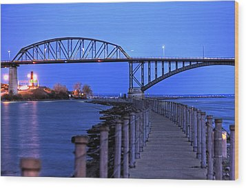 Wood Print featuring the photograph Peace Bridge From Nowak Pier by Don Nieman